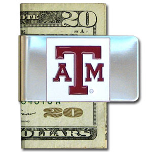 College Large Money Clip - Texas AandM Aggies - Put your team spirit where your money is with this large metal college money clip. Hand painted 3D emblem in school colors. Check out our extensive line of  licensed sports merchandise! Thank you for shopping with CrazedOutSports.com