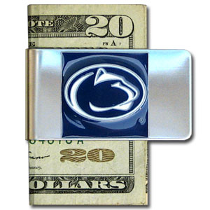College Large Money Clip - Penn State Nittany Lions - Put your team spirit where your money is with this large metal college money clip. Hand painted 3D emblem in school colors. Check out our extensive line of  licensed sports merchandise! Thank you for shopping with CrazedOutSports.com
