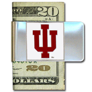 College Large Money Clip - Indiana Hoosiers - Put your team spirit where your money is with this Indiana Hoosiers large metal college money clip. Hand painted 3D emblem in school colors. Check out our extensive line of  licensed sports merchandise! Thank you for shopping with CrazedOutSports.com