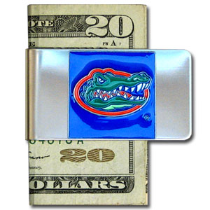 College Large Money Clip - Florida Gators - Put your Florida Gators team spirit where your money is with this large metal college money clip. Hand painted 3D emblem in Florida Gators colors. Check out our extensive line of  licensed sports merchandise! Thank you for shopping with CrazedOutSports.com