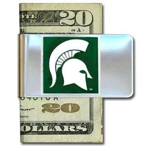Michigan State Spartans College Large Money Clip - Put your team spirit where your money is with this metal Michigan State Spartans College Large Money Clip . Michigan State Spartans College Large Money Clip has a hand painted 3D emblem in school colors. Check out our extensive line of  licensed sports merchandise! Thank you for shopping with CrazedOutSports.com