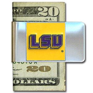 College Large Money Clip - LSU Tigers - Put your team spirit where your money is with this large metal LSU Tigers college money clip. Hand painted 3D emblem in school colors. Check out our extensive line of  licensed sports merchandise! Thank you for shopping with CrazedOutSports.com