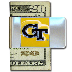 College Large Money Clip - Georgia Tech Yellow Jackets - Put your team spirit where your money is with this large metal college money clip. Hand painted 3D emblem in school colors. Check out our extensive line of  licensed sports merchandise! Thank you for shopping with CrazedOutSports.com