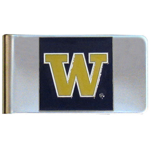 College Large Money Clip - Washington Huskies - Put your team spirit where your money is with this large metal college money clip. Hand painted 3D emblem in school colors. Check out our extensive line of  licensed sports merchandise! Thank you for shopping with CrazedOutSports.com