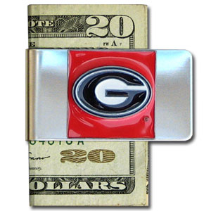 College Large Money Clip - Georgia Bulldogs - Put your team spirit where your money is with this Georgia Bulldogs large metal college money clip. Hand painted 3D emblem in school colors. Check out our extensive line of  licensed sports merchandise! Thank you for shopping with CrazedOutSports.com