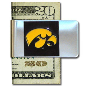 College Large Money Clip - Iowa Hawkeyes - Put your team spirit where your money is with this large metal Iowa Hawkeyes college money clip. Hand painted 3D emblem in school colors. Check out our extensive line of  licensed sports merchandise! Thank you for shopping with CrazedOutSports.com