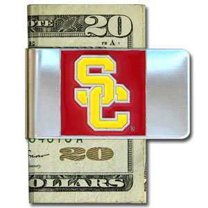 College Large  Money Clip - USC Trojans - Put your team spirit where your money is with this large metal college money clip. Hand painted 3D emblem in school colors. Check out our extensive line of  licensed sports merchandise! Thank you for shopping with CrazedOutSports.com