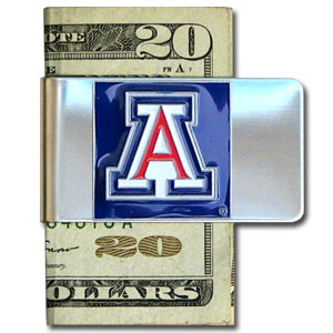 College Large Money Clip - Arizona Wildcats - Put your Arizona Wildcats team spirit where your money is with this large metal college money clip. Hand painted 3D emblem in school colors. Check out our extensive line of  licensed sports merchandise! Thank you for shopping with CrazedOutSports.com