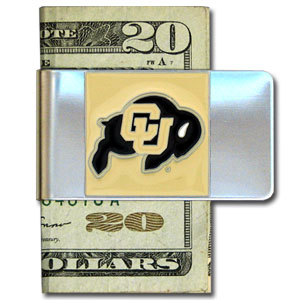 College Large Money Clip - Colorado Buffaloes - Put your Colorado Buffaloes team spirit where your money is with this large metal college money clip. Hand painted 3D emblem in Colorado Buffaloes school colors. Check out our extensive line of  licensed sports merchandise! Thank you for shopping with CrazedOutSports.com
