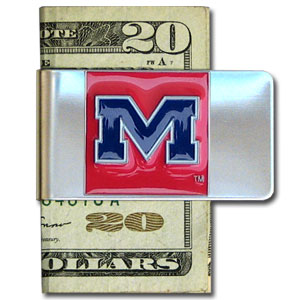College Large Money Clip - Mississippi Rebels - Put your team spirit where your money is with this large metal college money clip. Hand painted 3D emblem in school colors. Check out our extensive line of  licensed sports merchandise! Thank you for shopping with CrazedOutSports.com