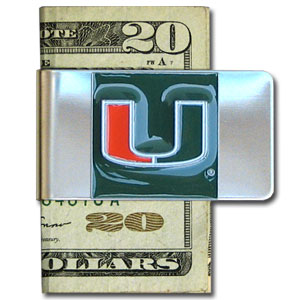Miami Hurricanes College Large Money Clip - Put your team spirit where your money is with this Miami Hurricanes College Large Money Clip. This Miami Hurricanes College Large Money Cliphas a hand painted 3D emblem in school colors. Check out our extensive line of  licensed sports merchandise! Thank you for shopping with CrazedOutSports.com