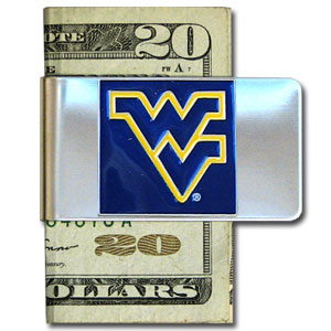 College Large Money Clip - West Virginia Mountaineers - Put your team spirit where your money is with this large metal college money clip. Hand painted 3D emblem in school colors. Check out our extensive line of  licensed sports merchandise! Thank you for shopping with CrazedOutSports.com