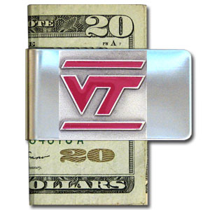 College Large Money Clip - Virginia Tech Hokies - Put your team spirit where your money is with this large metal college money clip. Hand painted 3D emblem in school colors. Check out our extensive line of  licensed sports merchandise! Thank you for shopping with CrazedOutSports.com