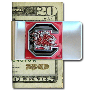 College Large Money Clip - South Carolina Gamecocks - Put your team spirit where your money is with this large metal college money clip. Hand painted 3D emblem in school colors. Check out our extensive line of  licensed sports merchandise! Thank you for shopping with CrazedOutSports.com
