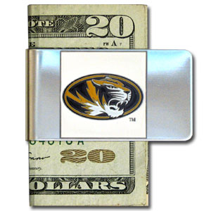 College Large Money Clip - Missouri Tigers - Put your team spirit where your money is with this large metal college money clip. Hand painted 3D emblem in school colors. Check out our extensive line of  licensed sports merchandise! Thank you for shopping with CrazedOutSports.com