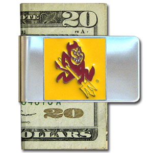 College Large Money Clip - Arizona State Sun Devils - Put your Arizona State Sun Devils team spirit where your money is with this large metal college money clip. Hand painted 3D emblem in school colors. Check out our extensive line of  licensed sports merchandise! Thank you for shopping with CrazedOutSports.com