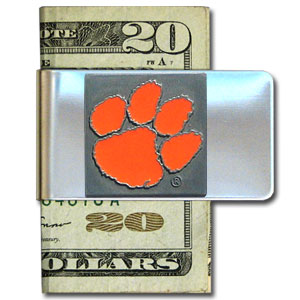 College Large Money Clip - Clemson Tigers - Put your Clemson Tigers team spirit where your money is with this large metal college money clip. Hand painted 3D emblem in school colors. Check out our extensive line of  licensed sports merchandise! Thank you for shopping with CrazedOutSports.com