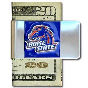 College Large Money Clip -  Boise State Broncos - Put your Boise State Broncos team spirit where your money is with this large metal college money clip. Hand painted 3D emblem in school colors. Check out our extensive line of  licensed sports merchandise! Thank you for shopping with CrazedOutSports.com