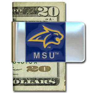 College Large Money Clip -  Montana State Bobcats - Put your team spirit where your money is with this large metal college money clip. Hand painted 3D emblem in school colors. Check out our extensive line of  licensed sports merchandise! Thank you for shopping with CrazedOutSports.com