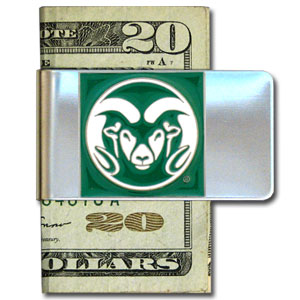College Large Money Clip - Colorado St. Rams - Put your Colorado State Rams team spirit where your money is with this large metal college money clip. Hand painted 3D emblem in school colors. Check out our extensive line of  licensed sports merchandise! Thank you for shopping with CrazedOutSports.com