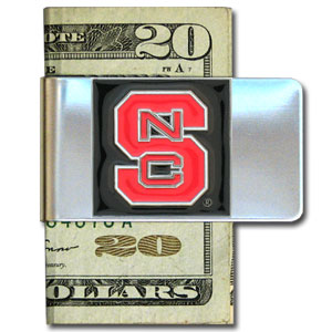 College Large Money Clip - N. Carolina St. Wolfpack - Put your team spirit where your money is with this large metal college money clip. Hand painted 3D emblem in school colors. Check out our extensive line of  licensed sports merchandise! Thank you for shopping with CrazedOutSports.com