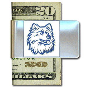 College Large Money Clip - UCONN Huskies - Put your team spirit where your money is with this large metal college money clip. Hand painted 3D emblem in school colors. Check out our extensive line of  licensed sports merchandise! Thank you for shopping with CrazedOutSports.com