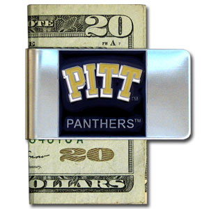 College Large Money Clip - Pittsburgh Panthers - Put your team spirit where your money is with this large metal college money clip. Hand painted 3D emblem in school colors. Check out our extensive line of  licensed sports merchandise! Thank you for shopping with CrazedOutSports.com