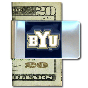 College Large Money Clip - BYU Cougars - Put your BYU Cougars team spirit where your money is with this large metal college money clip. Hand painted 3D emblem in school colors. Check out our extensive line of  licensed sports merchandise! Thank you for shopping with CrazedOutSports.com
