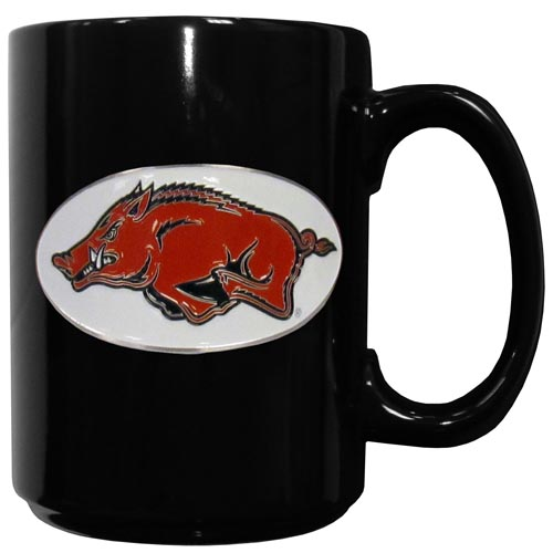 Arkansas Razorbacks Ceramic Coffee Mug - Our officiallly licensed Arkansas Razorbacks college ceramic coffee mugs have an 11 oz capacity and feature a fully cast and hand enameled school emblem. Thank you for shopping with CrazedOutSports.com