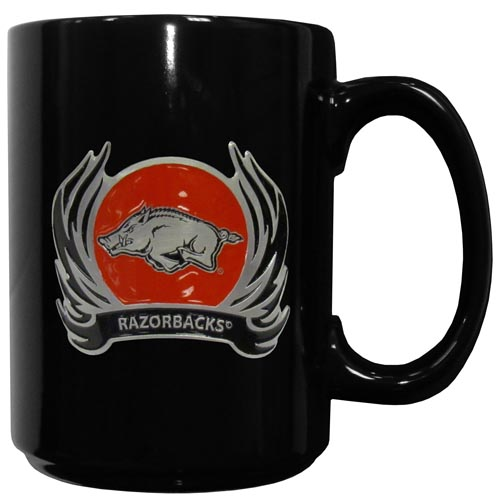 Arkansas Razorbacks Flame Ceramic Mugs - Our officiallly licensed Arkansas Razorbacks college ceramic coffee mugs have an 11 oz capacity and feature a fully cast and hand enameled school emblem. Thank you for shopping with CrazedOutSports.com