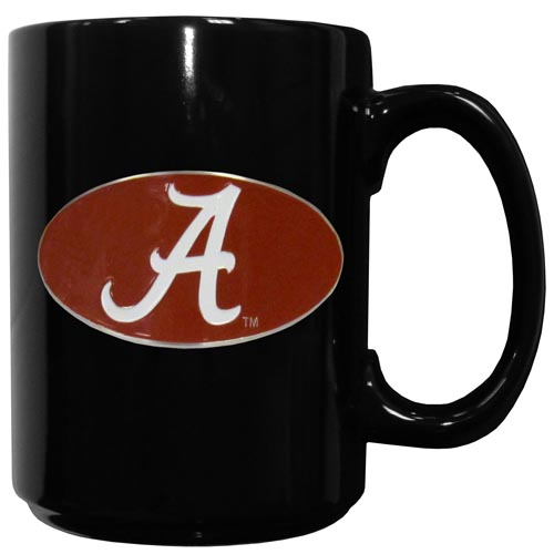 Alabama Crimson Tide Ceramic Coffee Mug - Our officiallly licensed college ceramic coffee mugs have an 11 oz capacity and feature a fully cast and hand enameled school emblem. Thank you for shopping with CrazedOutSports.com