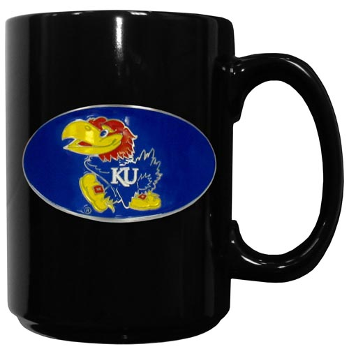 Kansas Jayhawks Ceramic Coffee Mug - This officiallly licensed Kansas Jayhawks college ceramic coffee mug has an 11 oz capacity and feature a fully cast and hand enameled Kansas Jayhawks school emblem. Thank you for shopping with CrazedOutSports.com