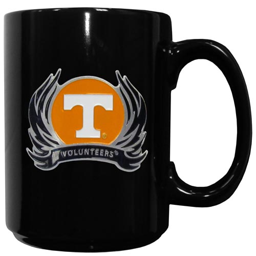 Tennessee Flame Ceramic Mugs - Our officiallly licensed college ceramic coffee mugs have an 11 oz capacity and feature a fully cast and hand enameled school emblem. Thank you for shopping with CrazedOutSports.com