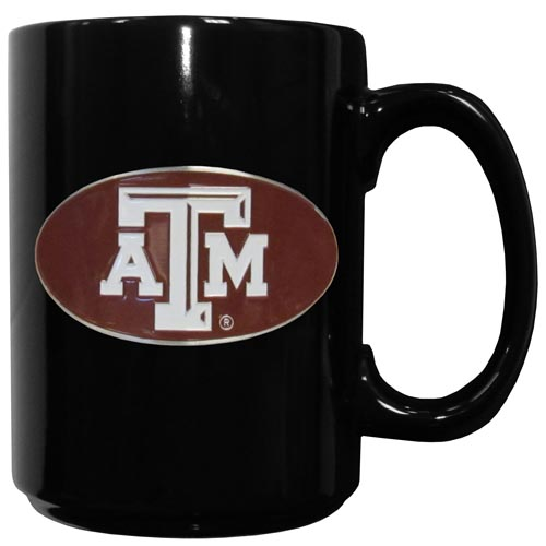 Texas AandM Ceramic Coffee Mug - Our officiallly licensed college ceramic coffee mugs have an 11 oz capacity and feature a fully cast and hand enameled school emblem. Thank you for shopping with CrazedOutSports.com