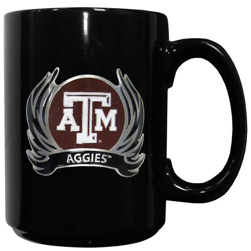 Texas AandM Flame Ceramic Mugs - Our officiallly licensed college ceramic coffee mugs have an 11 oz capacity and feature a fully cast and hand enameled school emblem. Thank you for shopping with CrazedOutSports.com