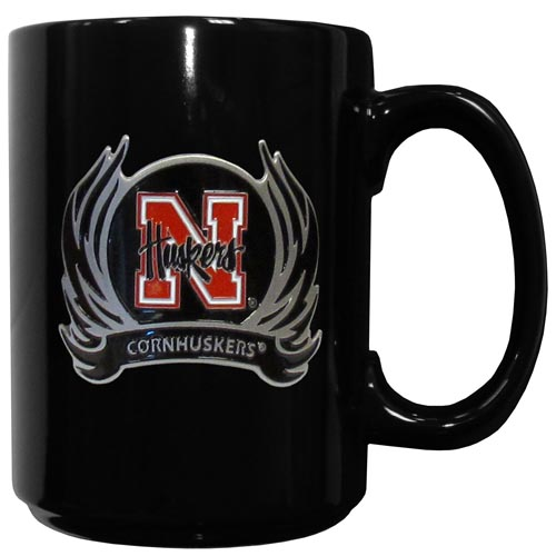 Nebraska Flame Ceramic Mugs - Our officiallly licensed college ceramic coffee mugs have an 11 oz capacity and feature a fully cast and hand enameled school emblem. Thank you for shopping with CrazedOutSports.com