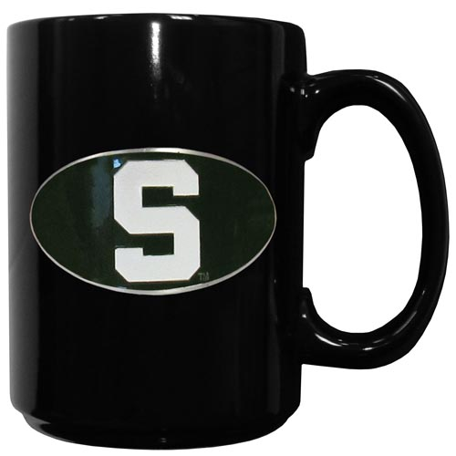 Michigan St. Spartans Ceramic Coffee Mug - This officiallly licensed college Michigan St. Spartans Ceramic Coffee Mug has an 11 oz capacity and feature a fully cast and hand enameled school emblem. Thank you for shopping with CrazedOutSports.com