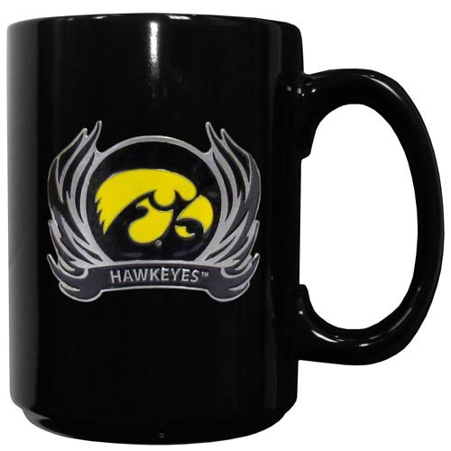 Iowa Hawkeyes Flame Ceramic Mugs - This officiallly licensed Iowa Hawkeyes college ceramic coffee mugs have an 11 oz capacity and feature a fully cast and hand enameled school emblem. Thank you for shopping with CrazedOutSports.com