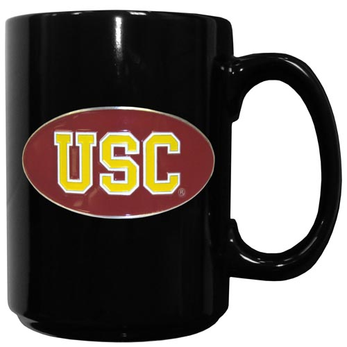 USC Ceramic Mug - Our officiallly licensed college ceramic coffee mugs have an 11 oz capacity and feature a fully cast and hand enameled school emblem. Thank you for shopping with CrazedOutSports.com