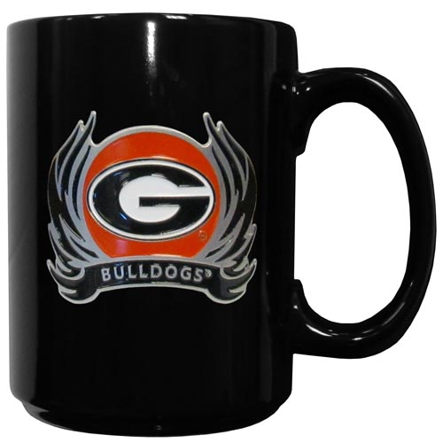 Georgia Bulldogs Flame Ceramic Mugs - Our officiallly licensed college Georgia Bulldogs ceramic coffee mugs have an 11 oz capacity and feature a fully cast and hand enameled school emblem. Thank you for shopping with CrazedOutSports.com
