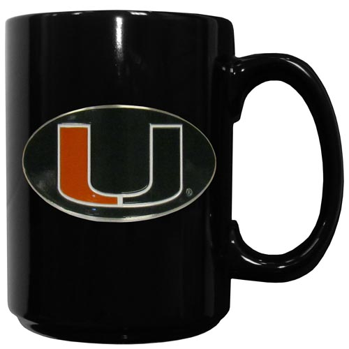 Miami Hurricanes Ceramic Coffee Mug - Our officiallly licensed college Miami Hurricanes ceramic coffee mugs have an 11 oz capacity and feature a fully cast and hand enameled school emblem. Thank you for shopping with CrazedOutSports.com