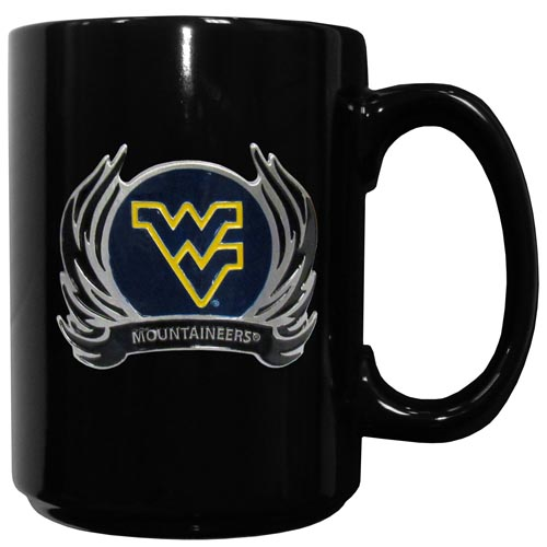 W. Virginia Flame Ceramic Mugs - Our officiallly licensed college ceramic coffee mugs have an 11 oz capacity and feature a fully cast and hand enameled school emblem. Thank you for shopping with CrazedOutSports.com