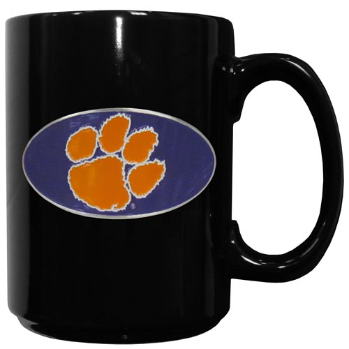 Clemson Tigers Ceramic Coffee Mug - Our officiallly licensed college ceramic coffee mugs have an 11 oz capacity and feature a fully cast and hand enameled Clemson Tigers school emblem. Thank you for shopping with CrazedOutSports.com