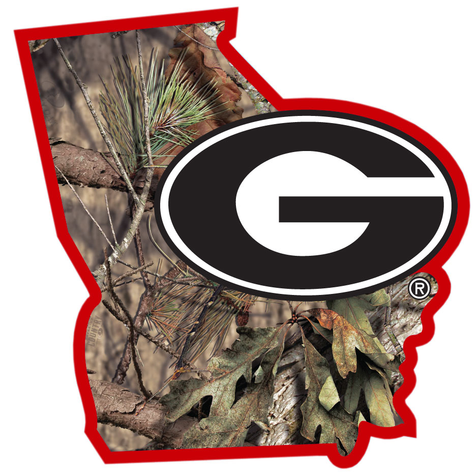 Georgia Bulldogs State Decal w/Mossy Oak Camo - It's a home state decal with a sporty twist! This Georgia Bulldogs decal features the team logo over a silhouette of the state in team colors and Mossy Oak camo and a helmet marking the home of the team. The decal is approximately 5 inches on repositionable vinyl.