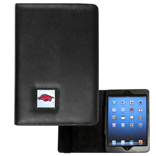 Arkansas Razorbacks iPad Mini Case - The perfect iPad mini accessory. The iPad mini slides easily into the inner sleeve that allows complete accessibility to all of the devices features and is the protected by the attractive out cover that can be secured closed or open while working with a simple stretch band. The great case features a cast and enameled Arkansas Razorbacks college emblem. Thank you for shopping with CrazedOutSports.com
