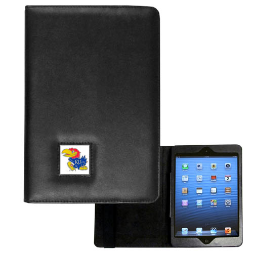 Kansas Jayhawks iPad Mini Case - Kansas Jayhawks iPad Mini Case is the perfect iPad mini accessory. The iPad mini slides easily into the inner sleeve that allows complete accessibility to all of the devices features and is the protected by the attractive out cover that can be secured closed or open while working with a simple stretch band. The great Kansas Jayhawks iPad Mini Case features a cast and enameled college emblem. Thank you for shopping with CrazedOutSports.com