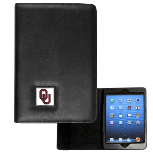Oklahoma iPad Mini Case - The perfect iPad mini accessory. The iPad mini slides easily into the inner sleeve that allows complete accessibility to all of the devices features and is the protected by the attractive out cover that can be secured closed or open while working with a simple stretch band. The great case features a cast and enameled college emblem. Thank you for shopping with CrazedOutSports.com