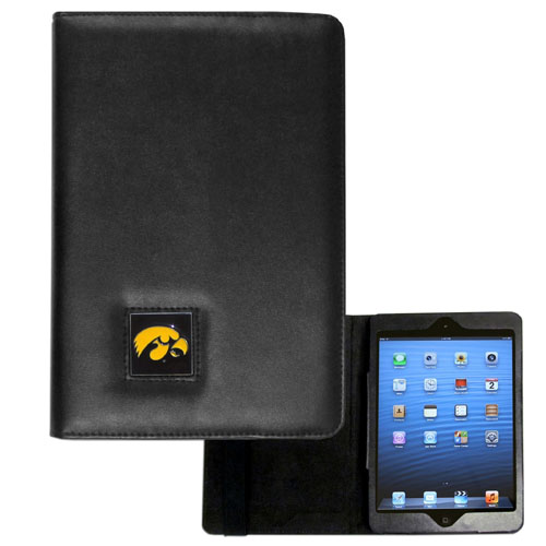 Iowa Hawkeyes iPad Mini Case - Iowa Hawkeyes iPad Mini Case is the perfect iPad mini accessory. The iPad mini slides easily into the inner sleeve that allows complete accessibility to all of the devices features and is the protected by the attractive out cover that can be secured closed or open while working with a simple stretch band. The Iowa Hawkeyes iPad Mini Case features a cast and enameled college emblem. Thank you for shopping with CrazedOutSports.com
