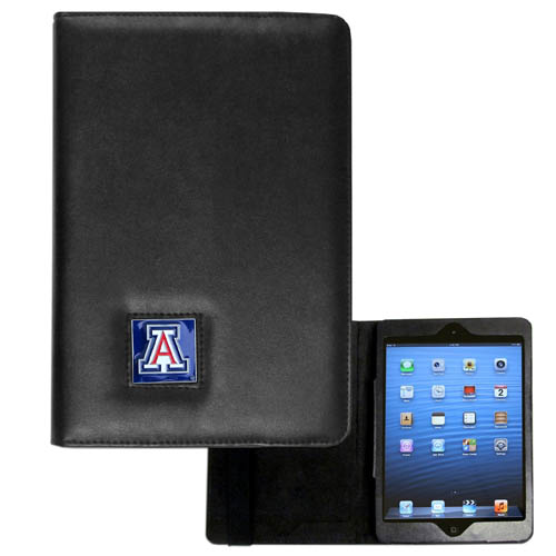 Arizona Wildcats iPad Mini Case - The Arizona Wildcats perfect iPad mini accessory. The iPad mini slides easily into the inner sleeve that allows complete accessibility to all of the devices features and is the protected by the attractive out cover that can be secured closed or open while working with a simple stretch band. The great case features a cast and enameled Arizona Wildcats college emblem. Thank you for shopping with CrazedOutSports.com