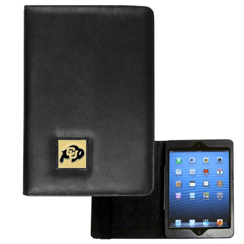 Colorado Buffaloes iPad Mini Case - The perfect iPad mini accessory. The iPad mini slides easily into the inner sleeve that allows complete accessibility to all of the devices features and is the protected by the attractive out cover that can be secured closed or open while working with a simple stretch band. The great case features a cast and enameled Colorado Buffaloes college emblem. Thank you for shopping with CrazedOutSports.com
